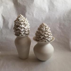 2 Pinapple Lid Vases