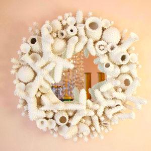 coral round mirror